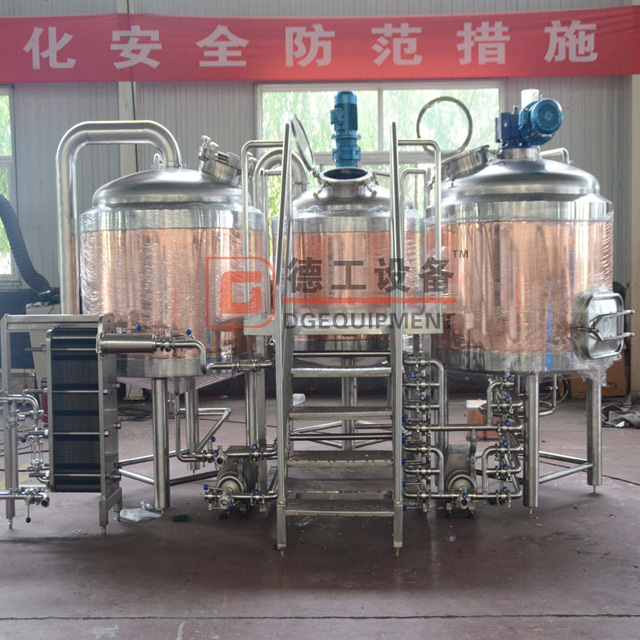 7BBL Brewpub Used Red Copper Beer Brewery Equipment with 3 Vessels Beer Brewhouse